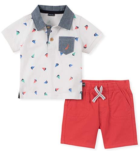 Short Element Clothing - Nautica Sets (KHQ) Baby Boys 2 Pieces Polo Shorts Set, White/red 18M