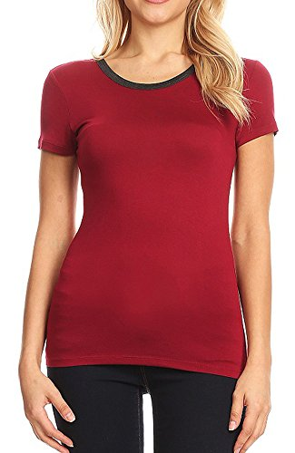 American Dream Women's Soft Stretch Rayon Modal Short Sleeve Ringer Crew Neck Top (Cranberry, Small)