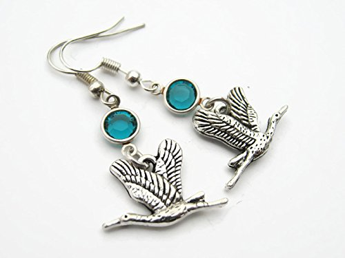 Flying Geese Birthstone Earrings, Personalized Bird Earrings, Animal Avian Earrings, Goose Earrings]()