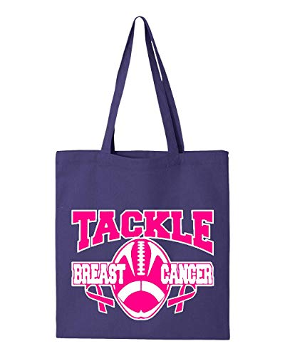 (Tackle Breast Cancer Football Tote Handbags Bags for Work School Grocery Travel)