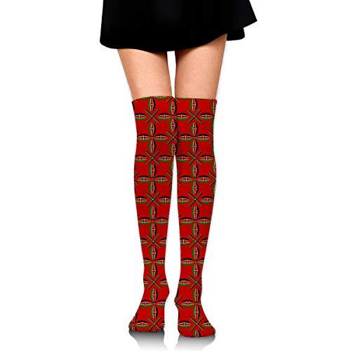 - Kenya Texture Flag Women's Knee High Socks Fancy Design, Best For Running, Athletic Sports,Yoga.