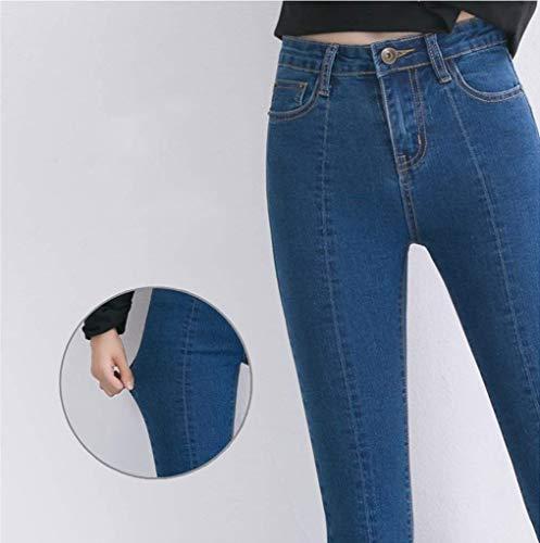Bootcut Adelina A Skinny Elasticizzati Jeans Flare Denim Con Abbigliamento Tasche Pantaloni Nove Casual Vita Blau Alta Punti rqwrEPC