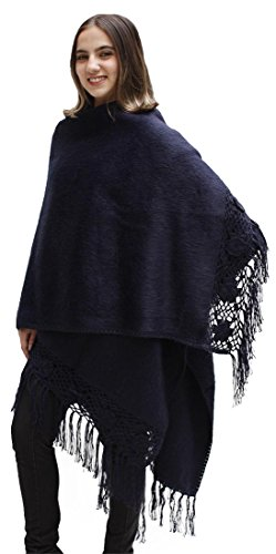Womens Soft Alpaca Wool Cape Poncho Ruana Shawl Crochet Edge With Roses (Navy Blue)