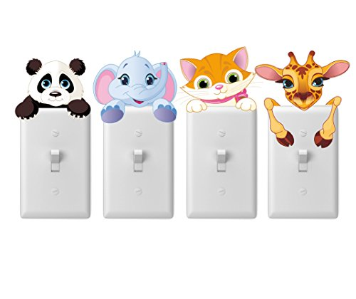 Merry Magic nursery wall decal stickers for light switches 4 pack - Baby animals, safari, zoo, panda, elephant, giraffe, cat - Boy girl unisex baby shower gifts - Easy peel and stick wall adhesives