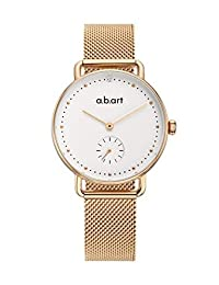abart Women Watches FR31-000-7S Sapphire Crystal Gold Mesh Band Ladies Watches (Rose Gold White)