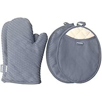 Honla Pot Holders and Oven Mitts Gloves with Silicone Printed,2 Hot Pads and 2 Potholders Set,4 Piece Heat Resistant Kitchen Linens Set for Cooking,Baking,Grilling,Barbecue,Gray