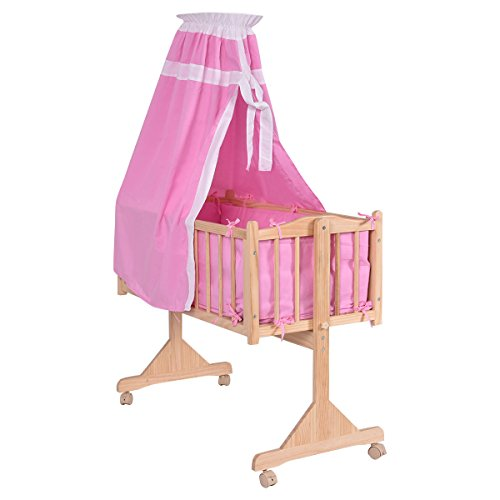 Costzon Wood Baby Cradle Rocking Crib Bassinet Bed Sleeper Portable Nursery (Blue)