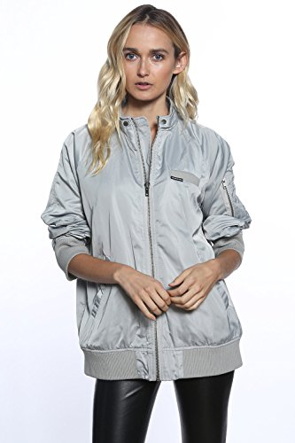 Members Only Women's Iconic Boyfriend Jacket with Satin Finish, Silver, XS