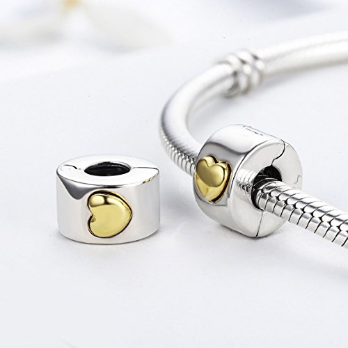 Heart Clip Charm Love you Forever 925 Sterling Silver Lock Spacer Stopper Bead Charm for European Pandora Charms Bracelet BJ09005 wdnqdw