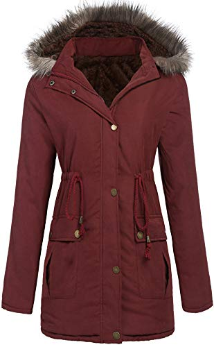 SoTeer Womens Hooded Warm Winter Coats Parkas with Faux Fur Jackets (Wine Red, XXL)