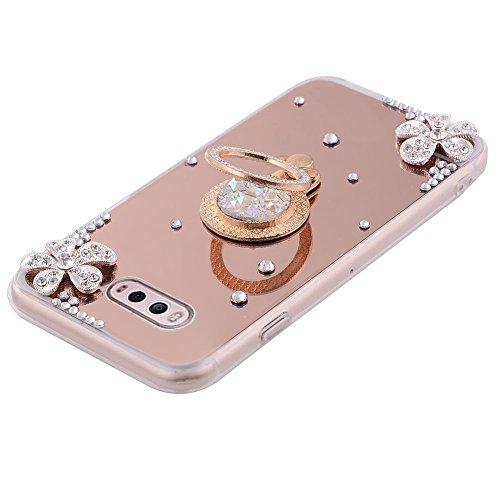 Funda LG V20,Saincat TPU Silicona con Diseño 3D Carcasa Caso Diamante Piedras de Strass Brillo Bling Flores Espejo Funda Mirror Case con Ring Stand Holder Bumper Case Shockproof Slim Funda Lindo Bling Oro rosa