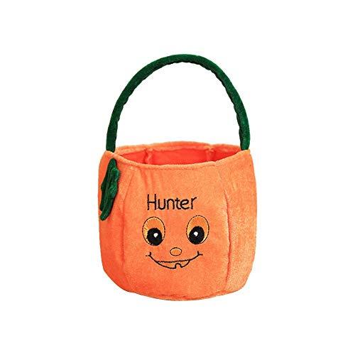 Xeminor Premium Quality 1 x Halloween Candy Bag Kindergarten Halloween Decoration Children Gift Creative Sugar Bag Three-Dimensional Pumpkin Tote Bag Decoration Orange Smiley Ribbon -