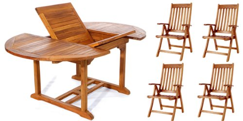 All Things Cedar TE70-44 5 Piece Teak Oval Extension Table with Folding Arm Chairs, Expandable -