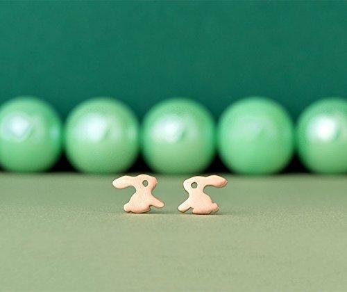 Solid Gold Bunny Earrings 14k dainty 18k rose gold 0.0011