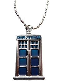 "Doctor Who TARDIS Police Box 1"" Tall Metal/Enamel PENDANT w/ 18"" Chain"