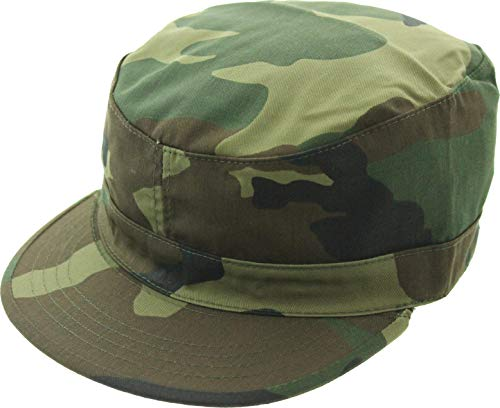 Army Universe Military Field Patrol Camouflage Cap Adjustable Tactical Fatigue Hat (Woodland Camo)