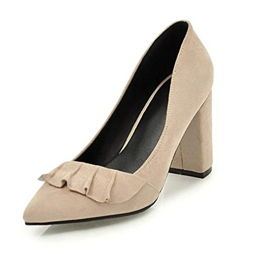 JOYBI Women's Pumps Loafers Pointed Toe Block Heels Lotus Comfortable Slip-On Chunky Low Heel Dress Shoes Brown