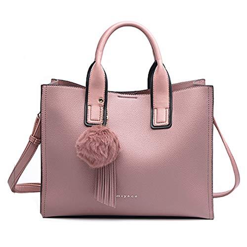 Sacs Pink avec à main TOP Tote moelleuse femmes Bags main gland Brown cuir Casual pour boule Sac et à en HH4w6r