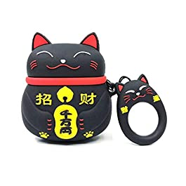 Airpods Case, Gtinna 3D Cute Cartoon Lucky Cat Airpods Cover Soft Silicone Rechargeable Headphone Cases,AirPods Case…