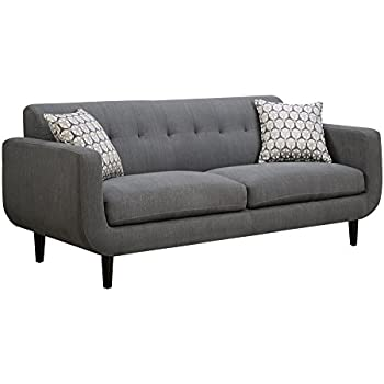 Charmant Coaster Stansall Mid Century Modern Grey Sofa With Tufted Back