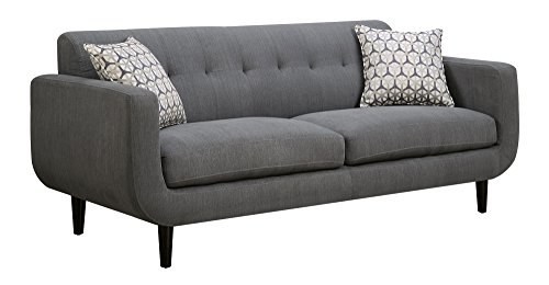 Sectional Asian Sofa (Coaster Stansall Mid-Century Modern Grey Sofa with Tufted Back)