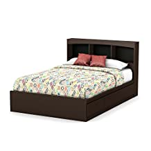 South Shore Furniture Step One Full Size Mates Bed with Drawers and Bookcase Headboard 54-Inch Set, Chocolate