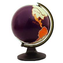 "Rotating Desktop Globe Earth Geography Purple Ocean World Table Décor 11.3"""