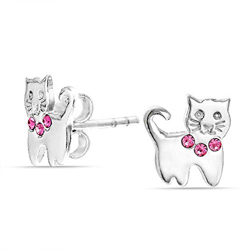 Tiny Pink Crystal Color Kitty Kitten Cat Stud Earrings For Women For Teen 925 Sterling Silver