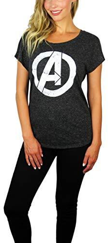 (Womens Avengers Logo Scoop Neck Doleman Tee (Charcoal Heather,)