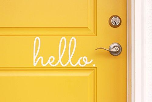 Hello in Cursive Indoor/Outdoor Lettering Wall Art Decor Sticker Vinyl for Door 5