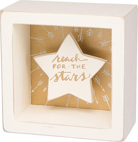 Reach For The Stars - White Star Shadowbox Box Mini Box S...