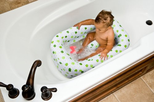 (Mommy's Helper Inflatable Bath Tub Froggie Collection, White/Green, 6-24 Months)