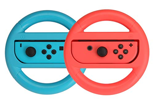 AmazonBasics Steering Wheel Controller for Nintendo Switch - Set of 2, Blue And Red