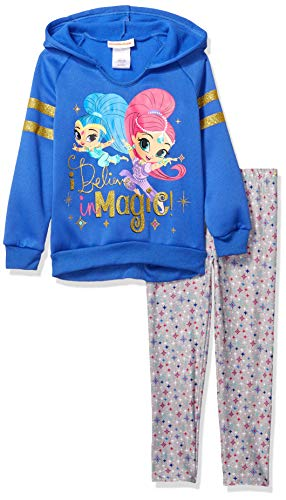 Nickelodeon Girls' Little Shimmer and Shine 2 Piece Hoodie and Legging Set, Blue, 5 (Sweater Shimmer)