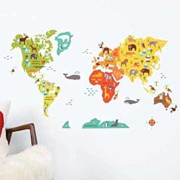 Amazon petit collage fabric wall decal world map baby petit collage fabric wall decal world map gumiabroncs Images