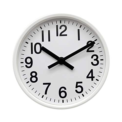 COMODO CASA Wall & Desk Clock- Metal Silver Frame-Glass Cover-Non Ticking-Quartz Sweep-Silent 6 inch Retro Clock,White (Simple Type)