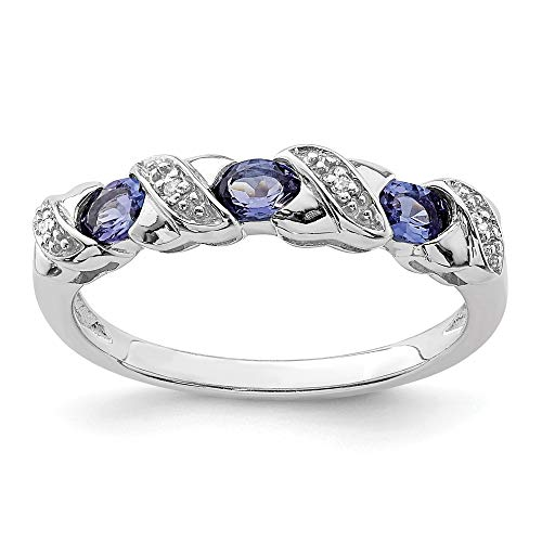 - 925 Sterling Silver Blue Tanzanite Diamond Band Ring Size 6.00 Stone Gemstone Fine Jewelry Gifts For Women For Her