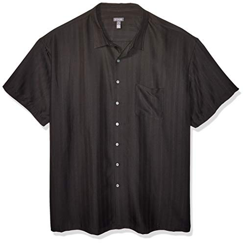 Van Heusen Men's Size Big and Tall Air Short Sleeve Button Down Poly Rayon Stripe Shirt, Black 1, X-Large