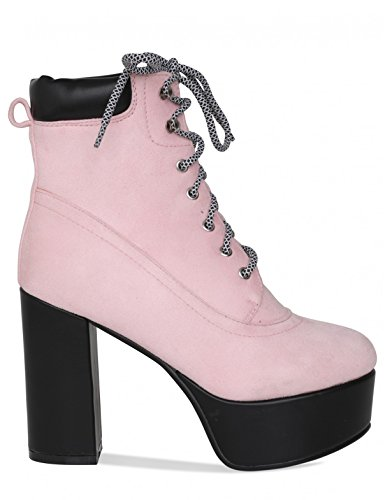 LAMODA Womens Lace up Hiking Ankle Boots in Faux Suede Pink