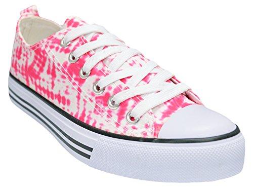 Shop Pretty Girl Damen Sneakers Casual Leinwand Schuhe Solid Farben Low Top Lace Up Flache Mode Fuschia Tie Dye