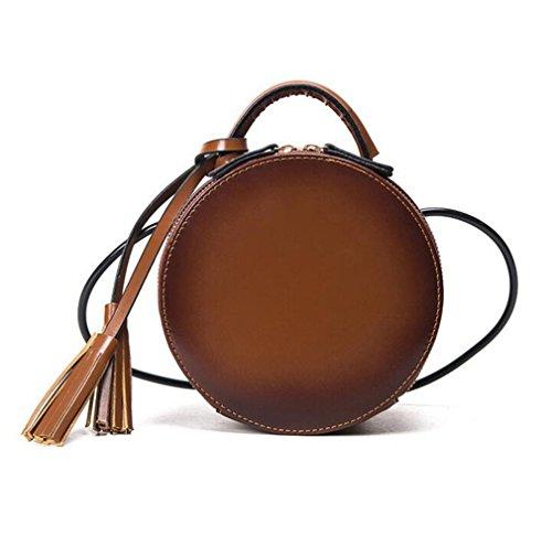 Women Round bag fashion handbag Cool Crossbody bags NEW PU Leather Shoulder bag Brown (Round Leather Tags Bag)