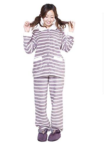 所得葡萄トロイの木馬アニマスジャパン 暖かい もこもこ パジャマ 上下セットA.ラベンダー