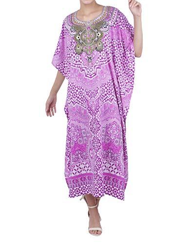 Embellished Kaftan - Miss Lavish London Kaftan Tunic Plus Size Beach Cover Up Maxi Dress Sleepwear Embellished Kimonos Purple [US 6-12]