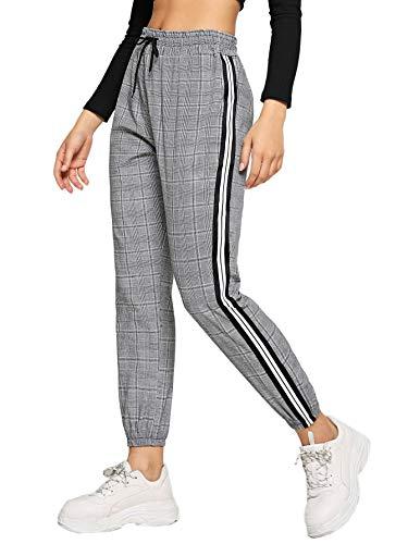 SweatyRocks Women's Plaid Drawstring Waist Striped Side Casual Crop Pants Grey Plaid Large
