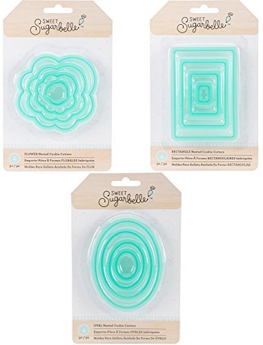 Sweet Sugarbelle - Nested Cookie Cutter Sets - Flower, Rectangle & Oval - 12 Cutters Bundle Oval Sweet