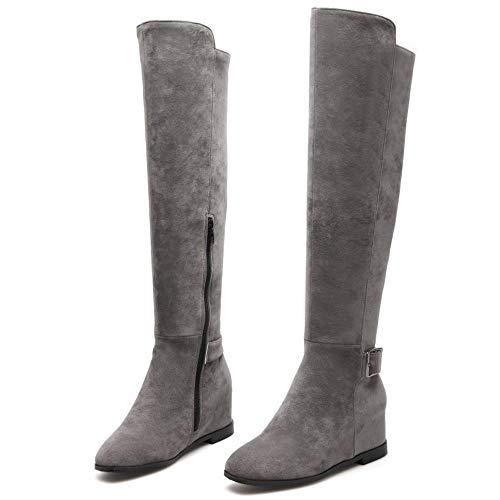 Hautes Bottes Gris Chaussures Femmes Taoffen Hiver qw5XCWd