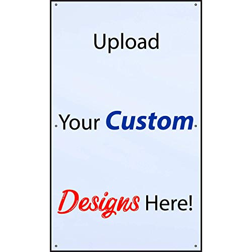 HALF PRICE BANNERS | Custom Design Vinyl Banner | Personalize with Your Design | 13oz Indoor/Outdoor | 5'x3' White | Includes Ball Bungees & Zip Ties | Advertising Sign | Various Sizes | Made in USA