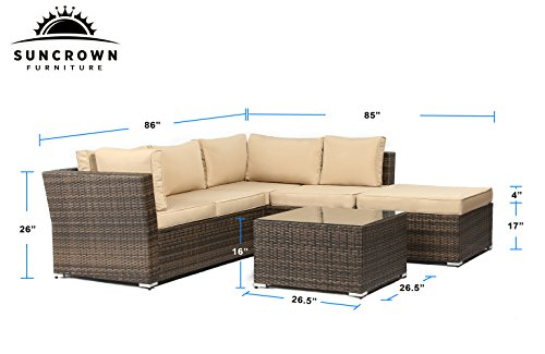 Suncrown-Outdoor-Furniture-Sectional-Sofa-4-Piece-Set-All-Weather-Brown-Checkered-Wicker-with-Brown-Washable-Seat-Cushions-Glass-Coffee-Table-Patio-Backyard-Pool-Waterproof-Cover-Clips