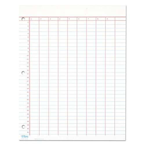 TOPS 3619 Data Pad w/Numbered Column Headings, 11 x 8 1/2, White, 50 Sheets - 3619 Data Pad