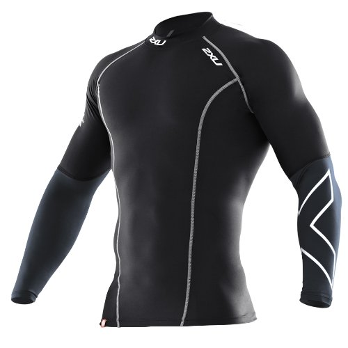 2XU Men's Elite Compression Long Sleeve Top (Black/Steel, Large)